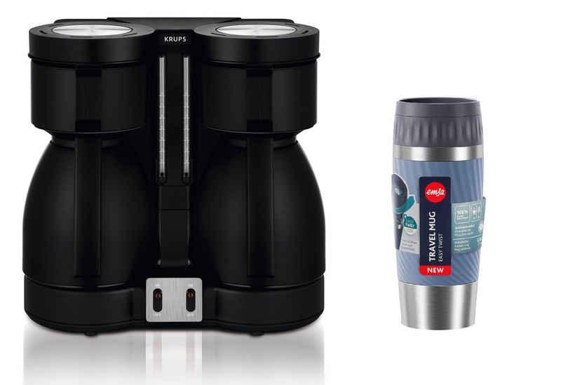 Krups Filterkaffeemaschine KT8, 2l Kaffeekanne, Krups Duothek Thermo Filterkaffeemaschine, zwei Isolierkannen, Abschaltautomatik, tropffrei, Perfekte Kaffeequalität, große Menge (16 Tassen), Ein & Aus-Schalter, Wasser -und Leuchtanzeige, 850 Watt mit Travel Mug Easy Twist Thermobecher, 0,36 L
