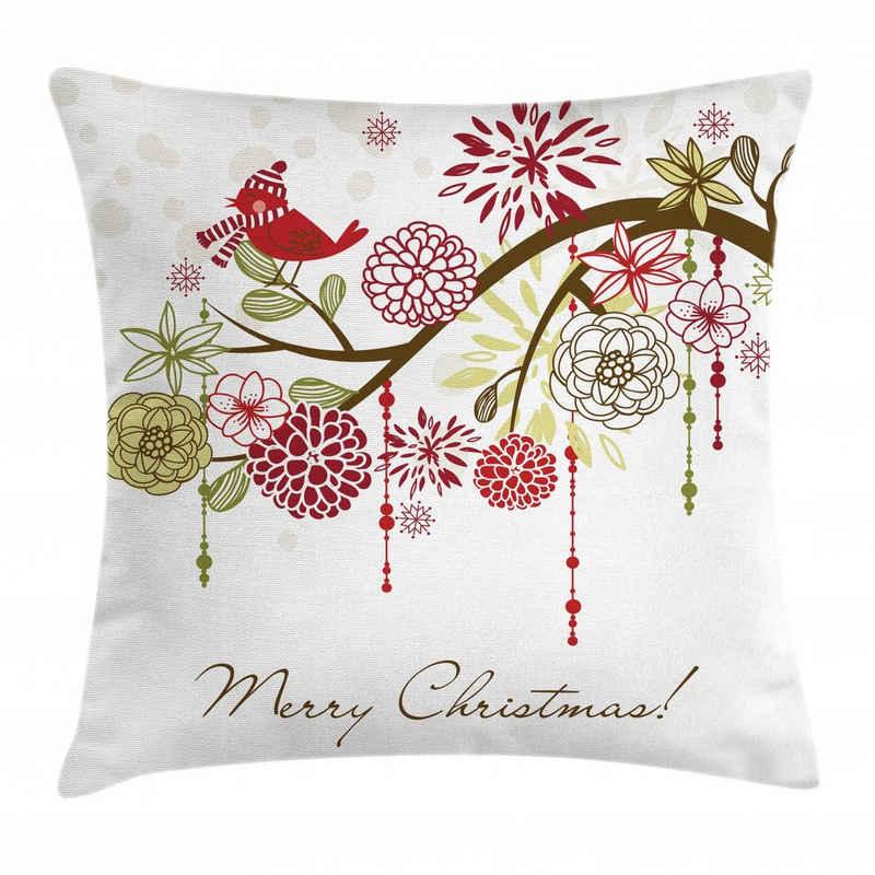 Abakuhaus Kissenbezug »Waschbar mit Reißverschluss Kissenhülle mit Farbfesten Klaren Farben Beidseitiger Druck«, Weihnachten Roter Vogel Blumenbaum