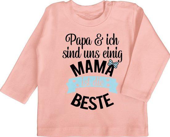 Shirtracer T-Shirt »Mama ist die beste - blau schwarz - Mutter Geschenke Baby - Baby T-Shirt langarm« Mama Tochter & Sohn Kleidung Strampler Babykleidung