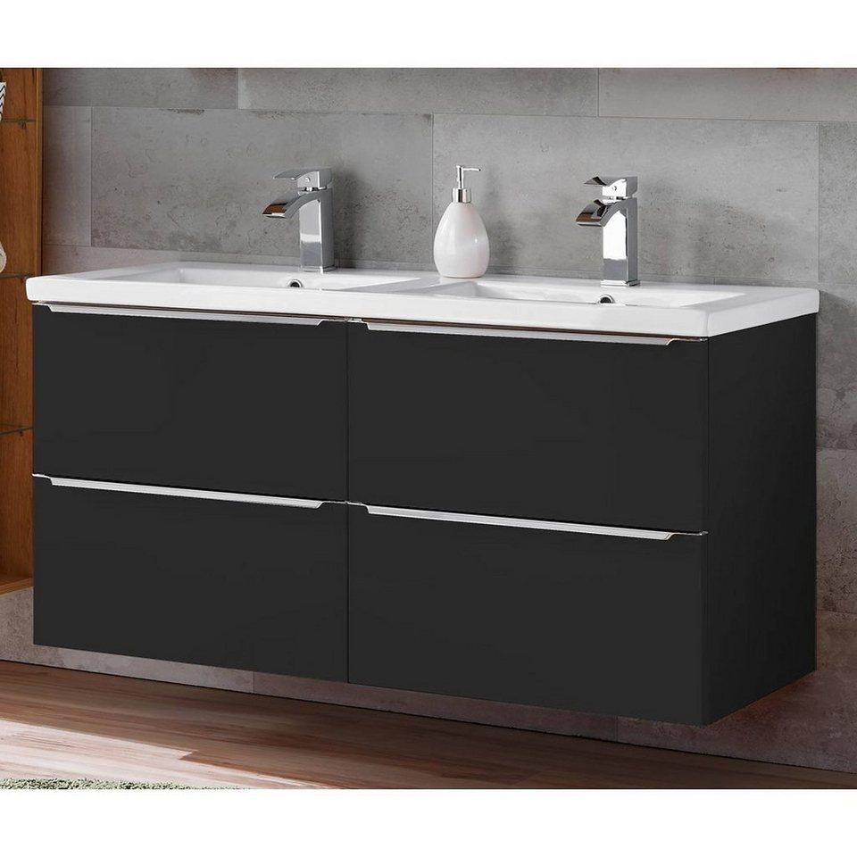 Lomadox Doppelwaschtisch »TOSKANA BLACK 20«, Badmöbel  Waschtisch Unterschrank inkl. Doppel Keramik Waschbecken, seidenmatt  anthrazit, BxHxT ca. ...