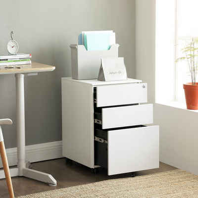 SONGMICS Rollcontainer »OFC60BK OFC60WT«, Stahl Büroschrank, Aktenschrank, weiß