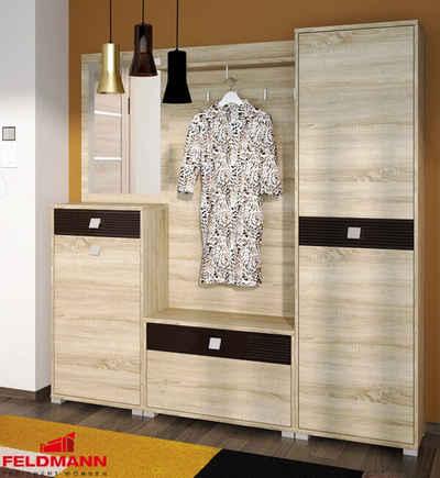 Feldmann-Wohnen Garderobe »BELLA« (Set), 1 Kommode + 1 Paneel + 1 kleine Kommode + 1 Hochschrank mit Spiegel