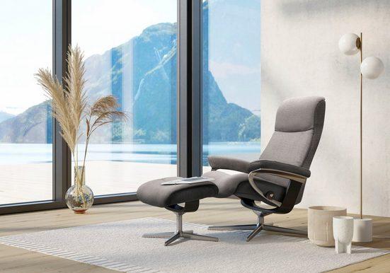 Stressless® Relaxsessel »View« (Set, Relaxsessel mit Hocker), mit Hocker, mit Cross Base, Größe S, M & L, Gestell Schwarz