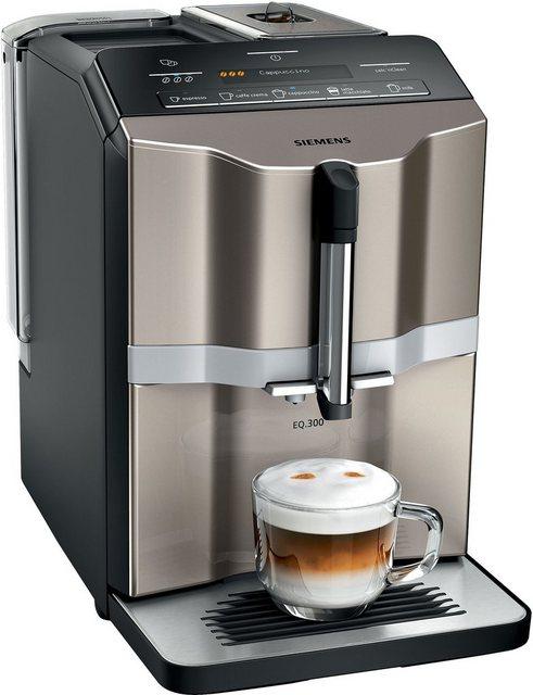 SIEMENS Kaffeevollautomat EQ.300 TI353514DE, einfache Zubereitung mit oneTouch Funktion, 5 Kaffee-Milch-Getränke, LCD-Dialog-Display, champagner