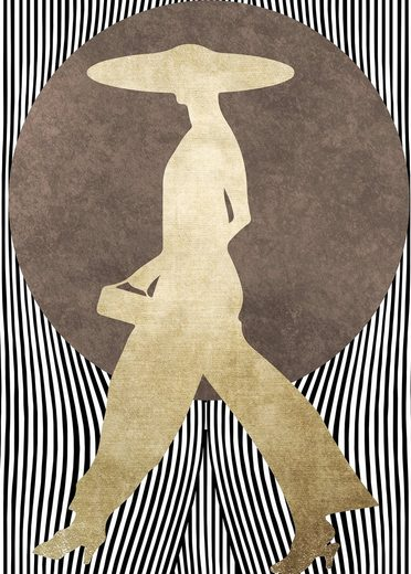 living walls Fototapete »ARTist La Madame Noir«, (Set, 2 St), abstrakte Kunst, Vlies, glatt