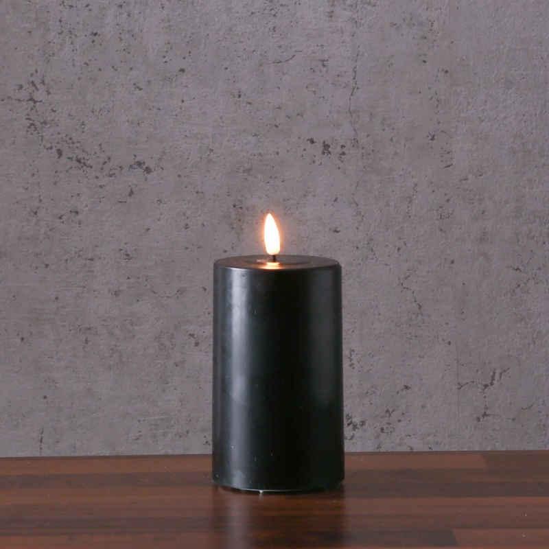 Deluxe Homeart LED-Kerze »LED Kerze MIA Echtwachs realistische 3D Flamme H: 12,5cm Batteriebetrieb schwarz«