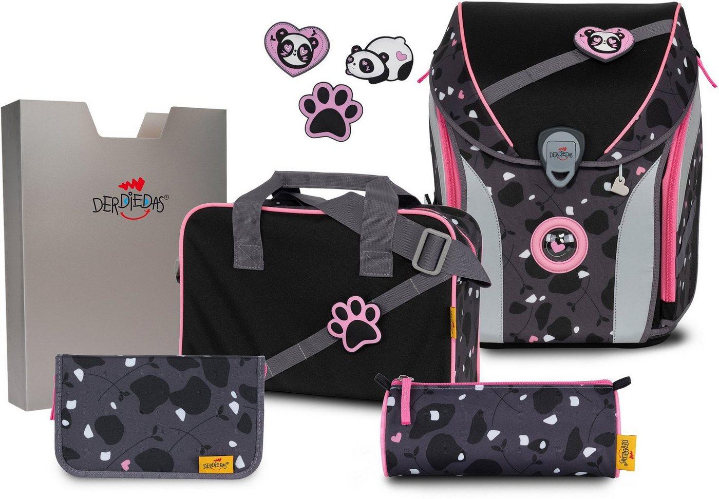 derdiedas® -  Schulranzen »ErgoFlex MAX Buttons - Pink Panda« (Set), mit 3 Buttons