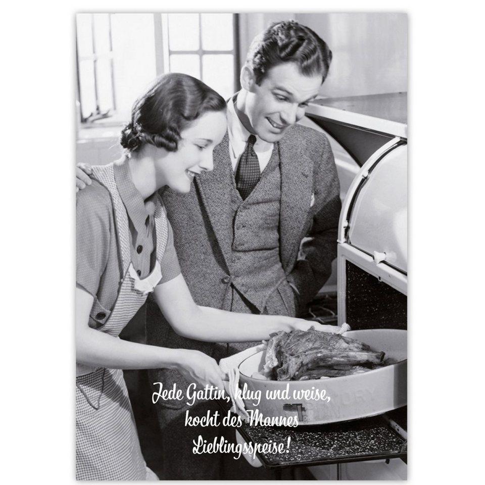 BUTLERS CARD »Jede Gattin, klug...« in Schwarz