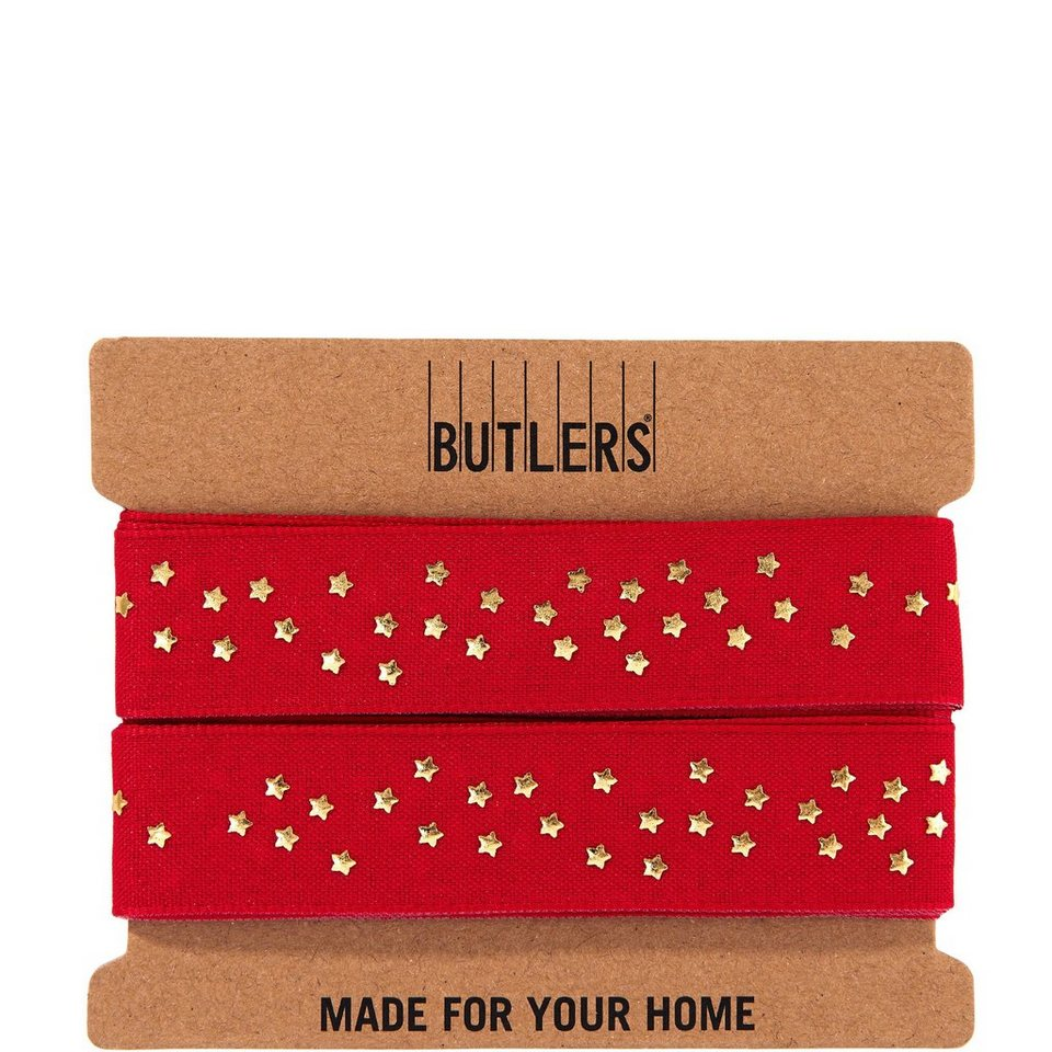 BUTLERS RIBBON »Geschenkband Sterne« in rot