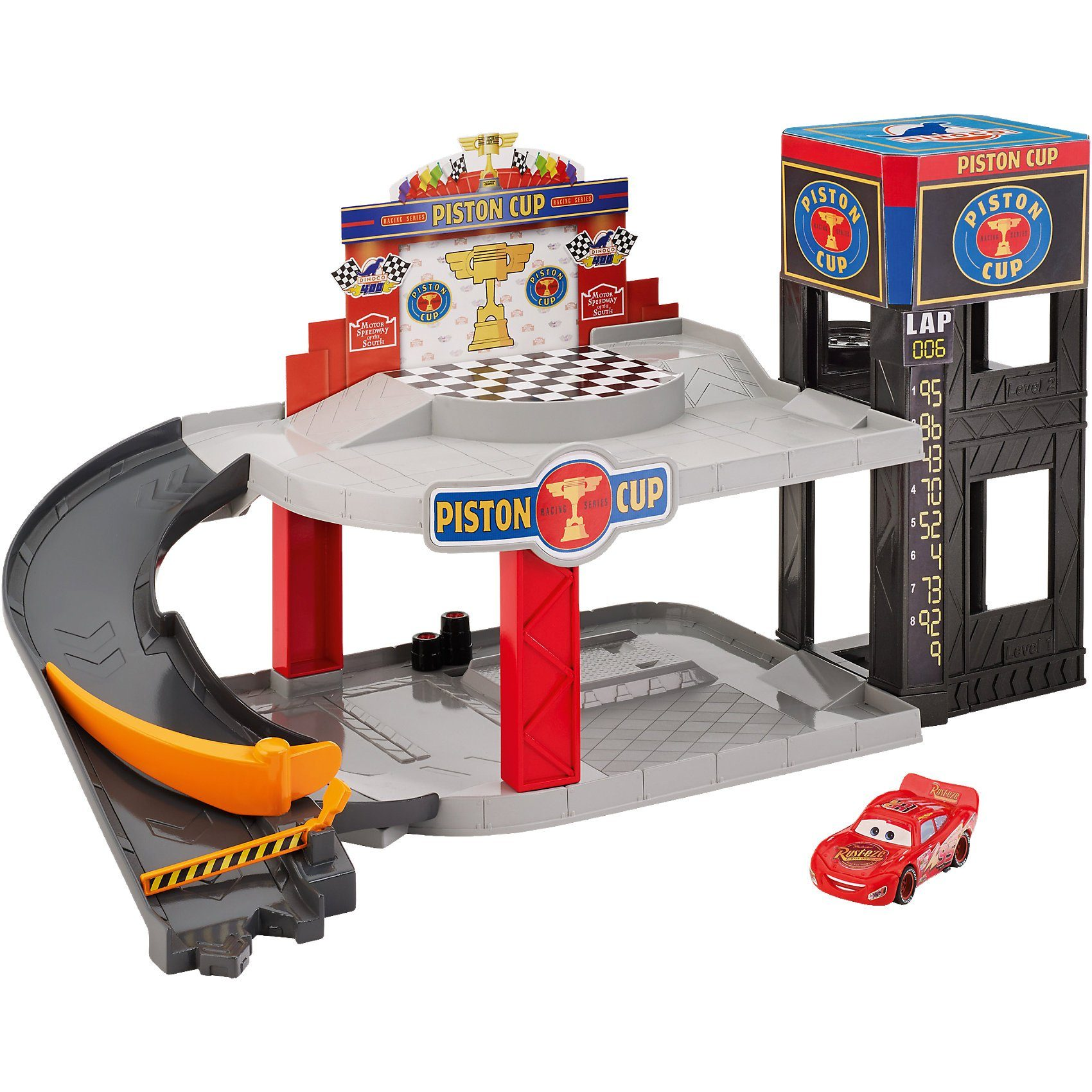 Mattel® Disney Cars Piston Cup Rennbahn-Parkhaus Spielset