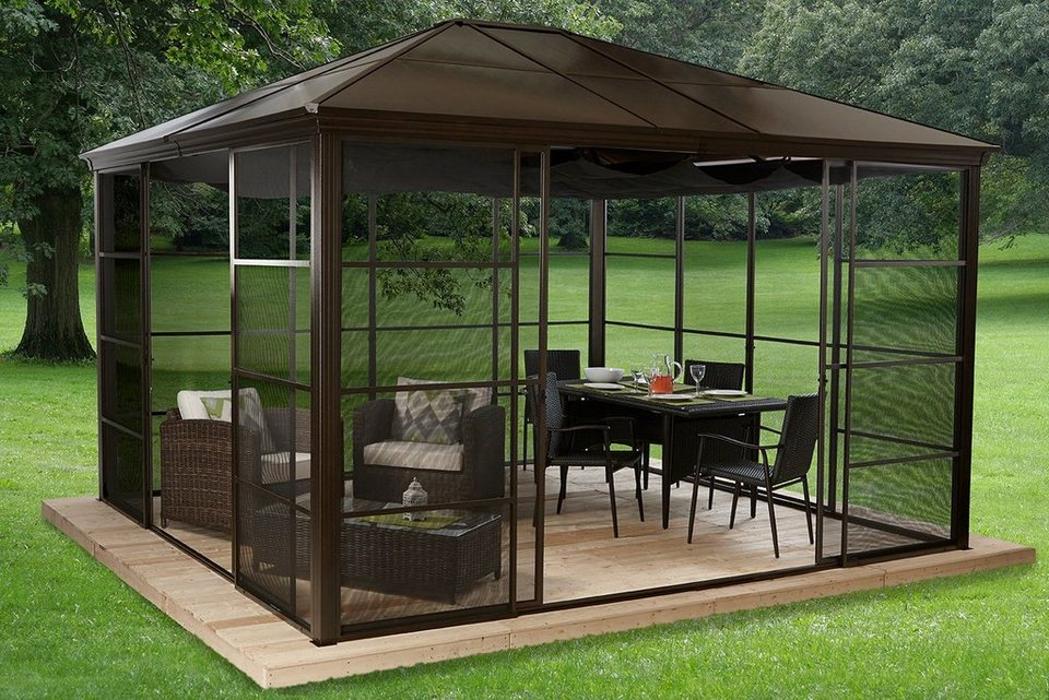 clemens hobby tec pavillon mit seitenteilen castel 12x14. Black Bedroom Furniture Sets. Home Design Ideas