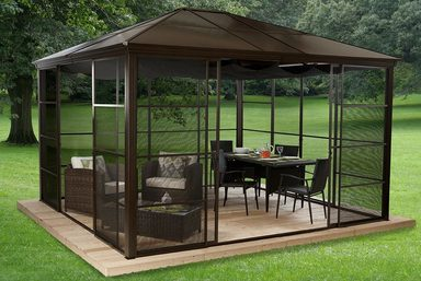 clemens hobby tec pavillon mit seitenteilen castel 12x14 bxt 427x362 cm bronzefarben online. Black Bedroom Furniture Sets. Home Design Ideas