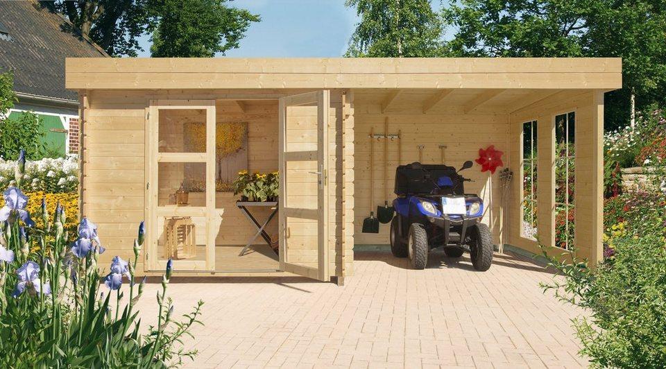 Gartenhaus Mit Fußboden Günstig ~ Luoman set: gartenhaus »lillevilla 485« bxt: 430x233 cm anbaudach