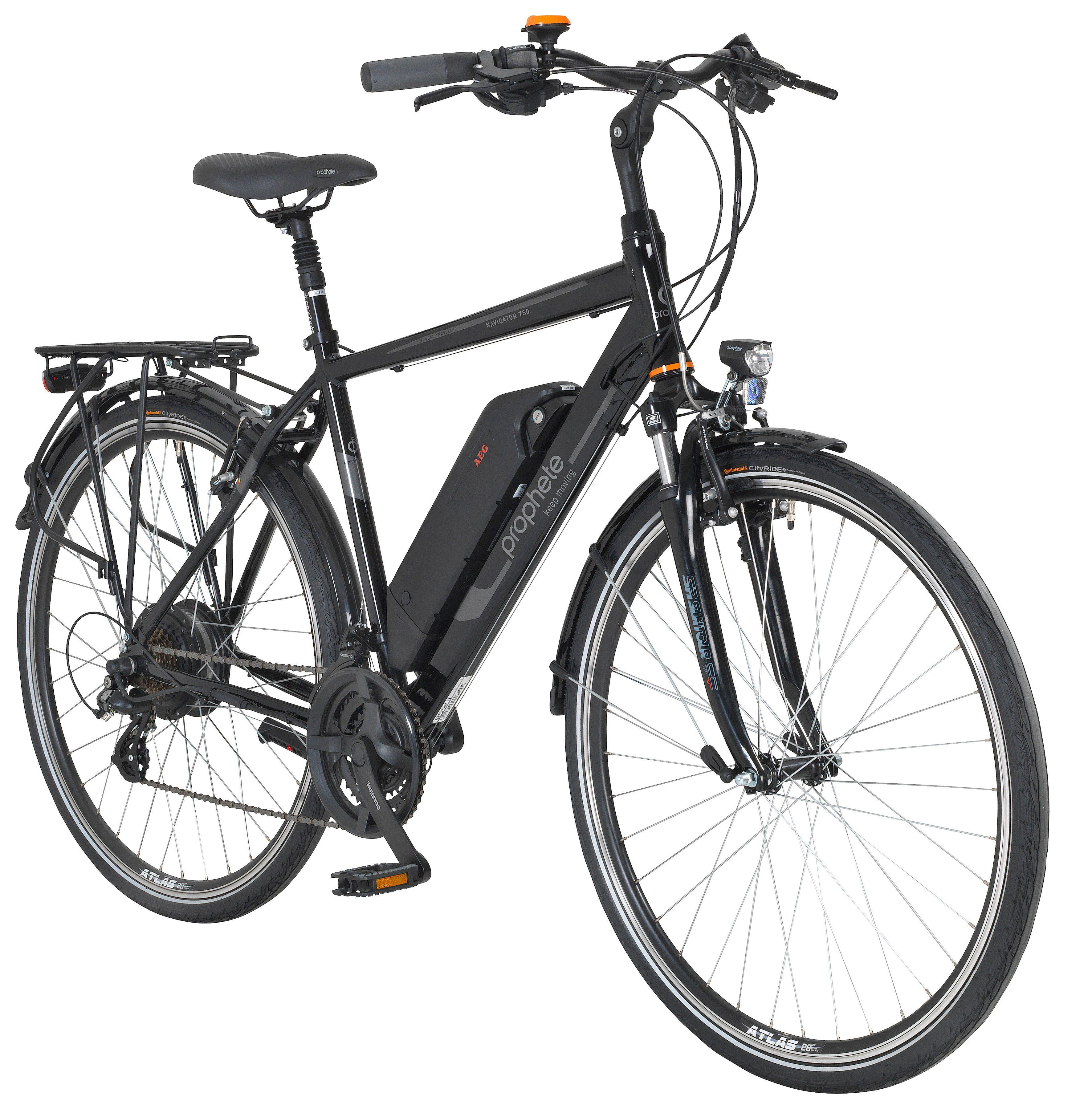 PROPHETE E-Bike Trekking Herren »Navigator 750«, 28 Zoll, 24 Gang, Heckmotor, 374 Wh
