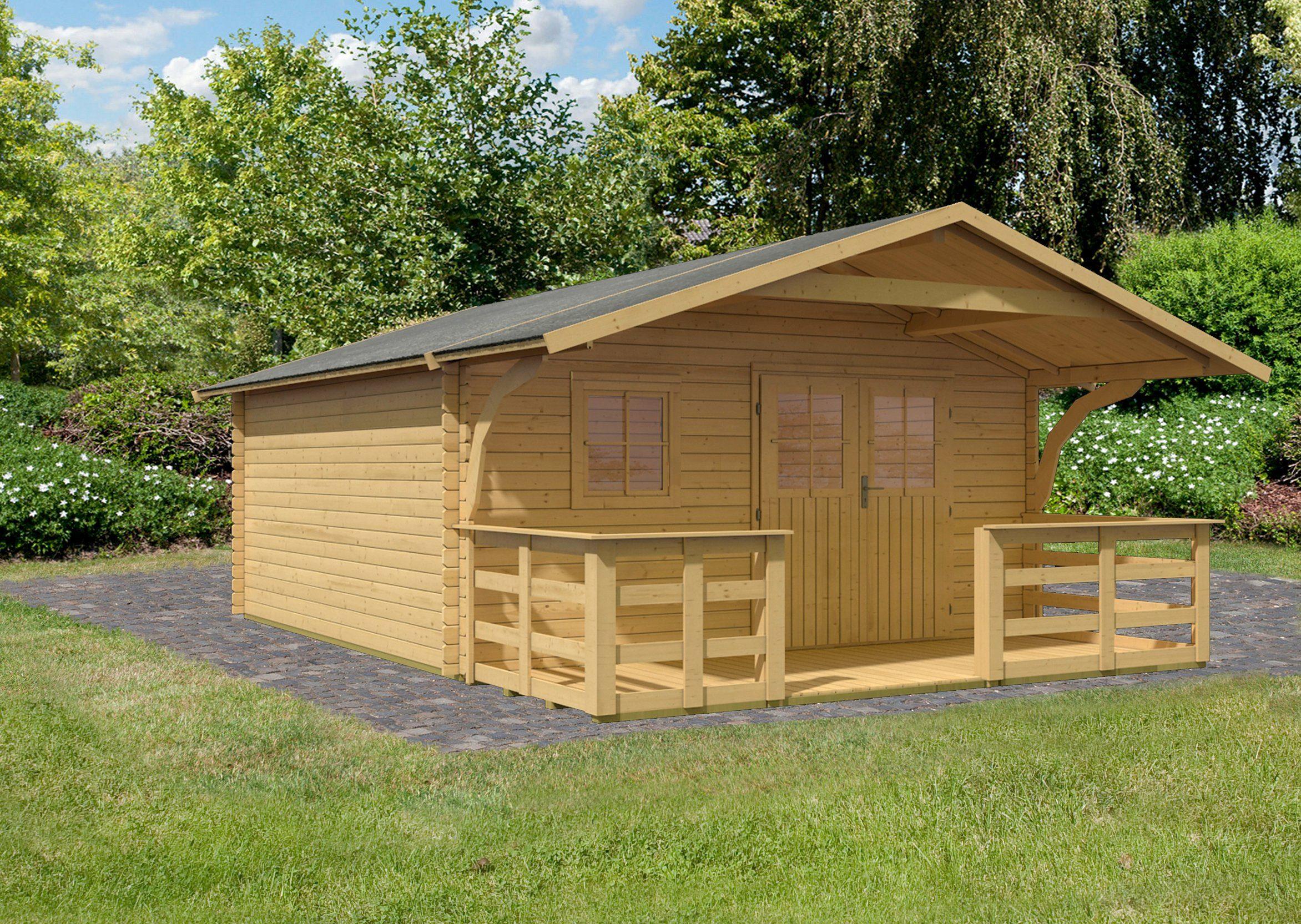 KARIBU Set: Gartenhaus »Travemünde 2«, BxT: 452x595 cm, mit Vordach und Terrasse