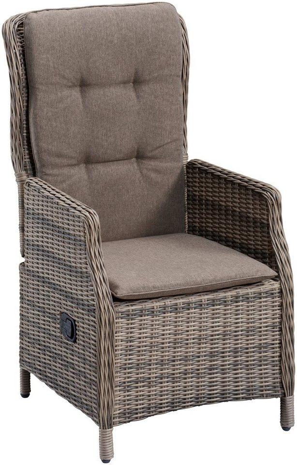 Gartenstühle rattan braun  Gartenstuhl »Riviera«, Polyrattan, verstellbar, inkl. Auflage ...