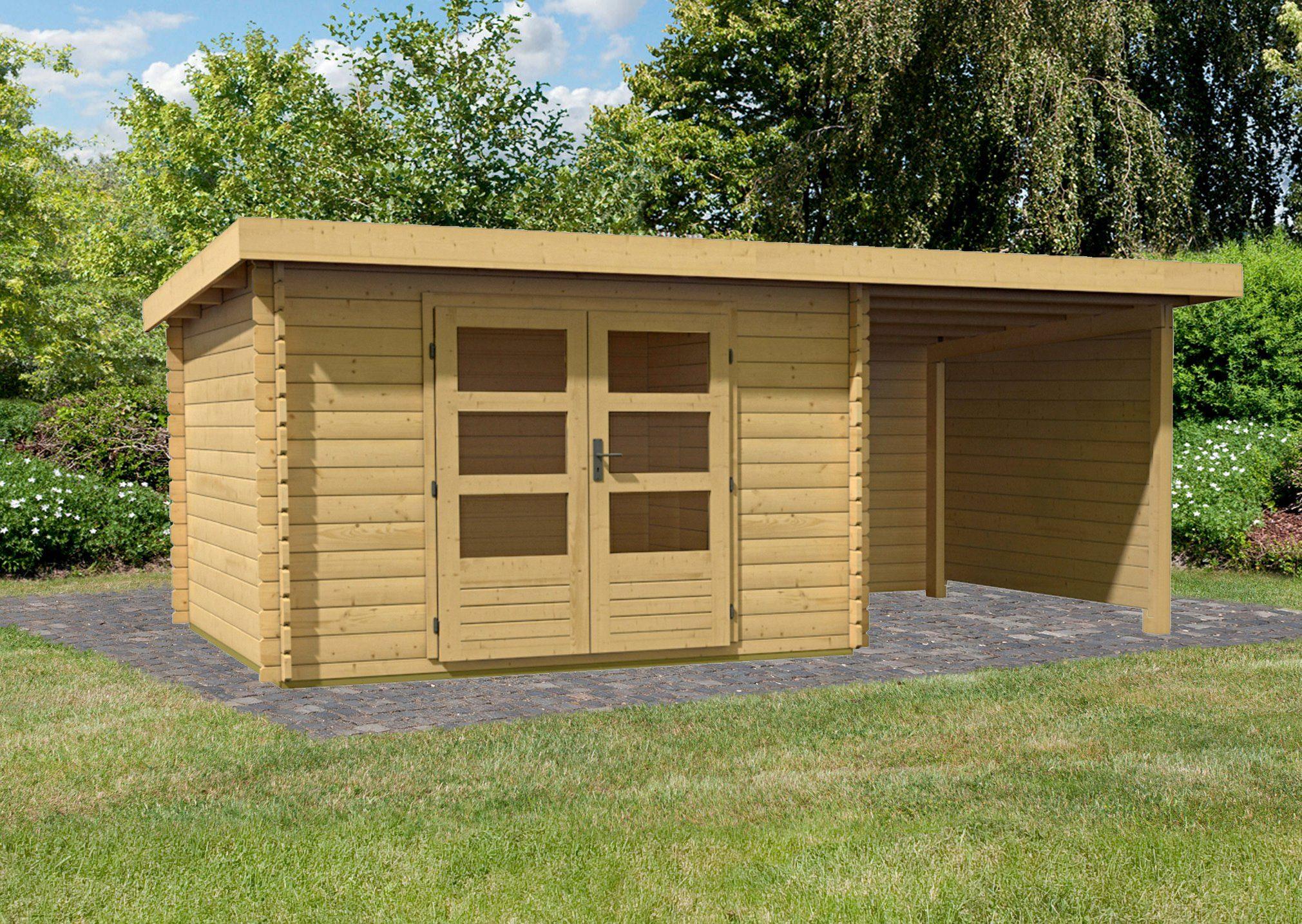 KONIFERA Set: Gartenhaus »Ringköbing 5«, BxT: 515x333 cm, inkl. Anbau mit Seiten- und Rückwand