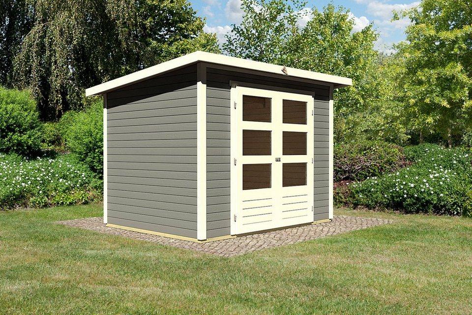 karibu gartenhaus stakkato 3 bxt 246x186 cm 19 mm terragrau online kaufen otto. Black Bedroom Furniture Sets. Home Design Ideas