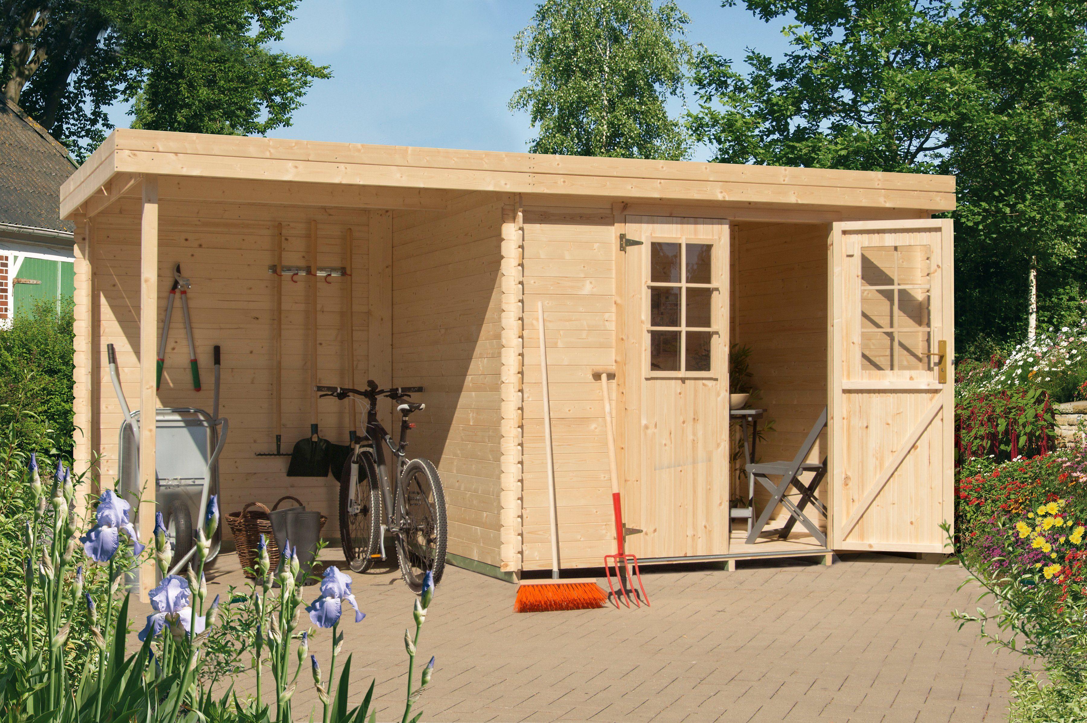 LUOMAN Gartenhaus »Lillevilla 429 MOD«, BxT: 240x200 cm, mit Anbau (180 cm breite) + Rückwand