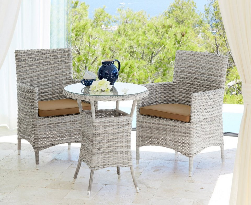 gartenm belset bali 2 sessel 1 tisch 60 cm polyrattan wollwei online kaufen otto. Black Bedroom Furniture Sets. Home Design Ideas