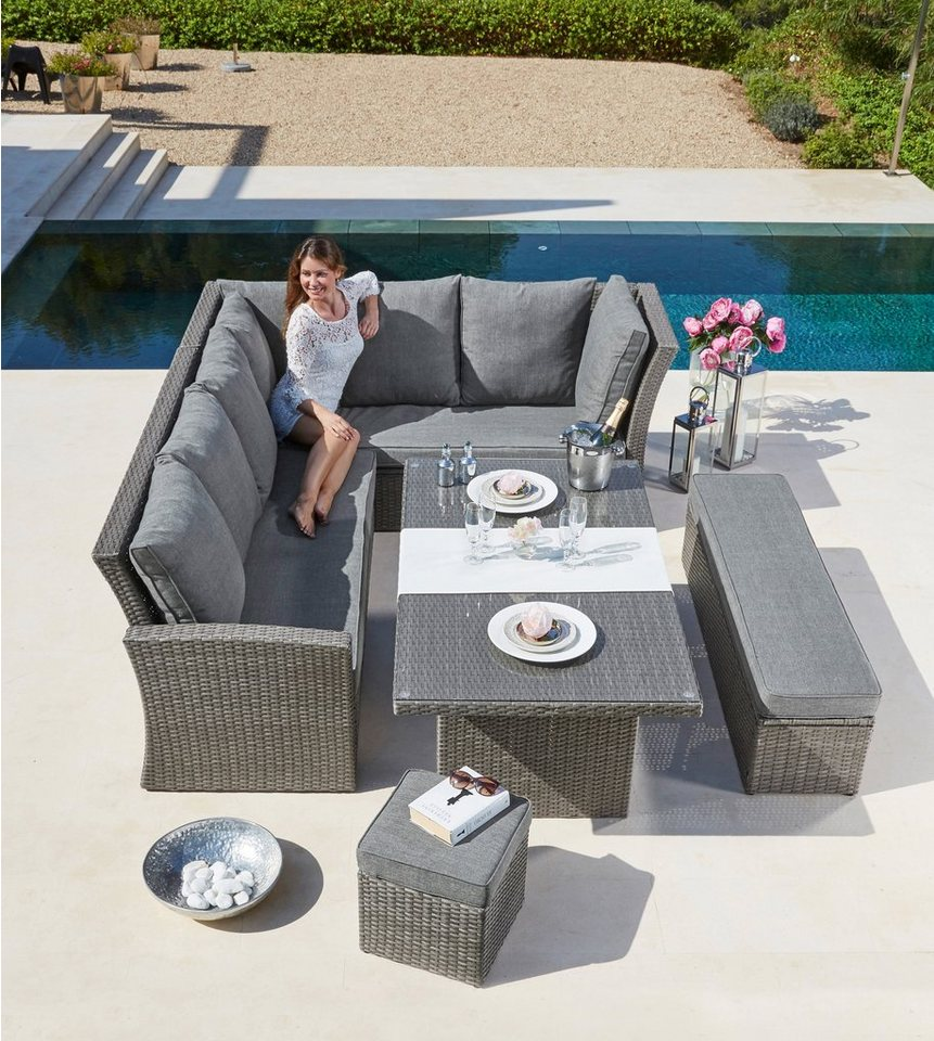 Gartenmöbel set lounge grau  Gartenmöbelset »Santorini«, 17-tlg.,2 Sofas, Bank, Hocker, Tisch ...