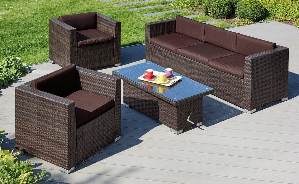 Loungeset Bari Deluxe 14 Tlg 2 Sessel 3er Sofa Tisch