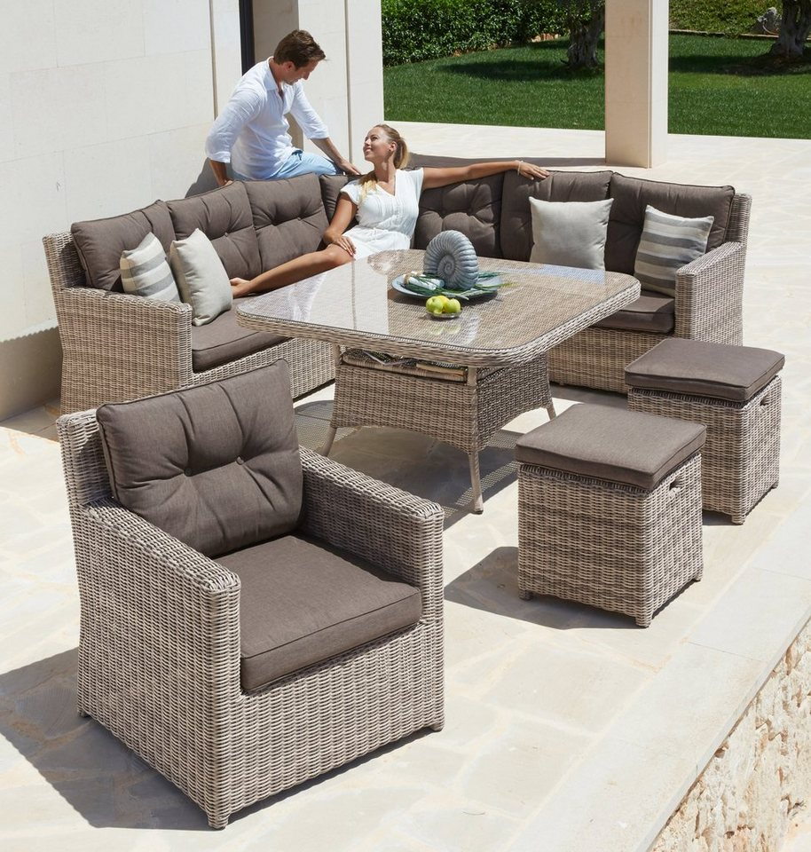 25 tgl gartenm belset bahamas ecklounge sessel 2 hocker tisch polyrattan braun online. Black Bedroom Furniture Sets. Home Design Ideas