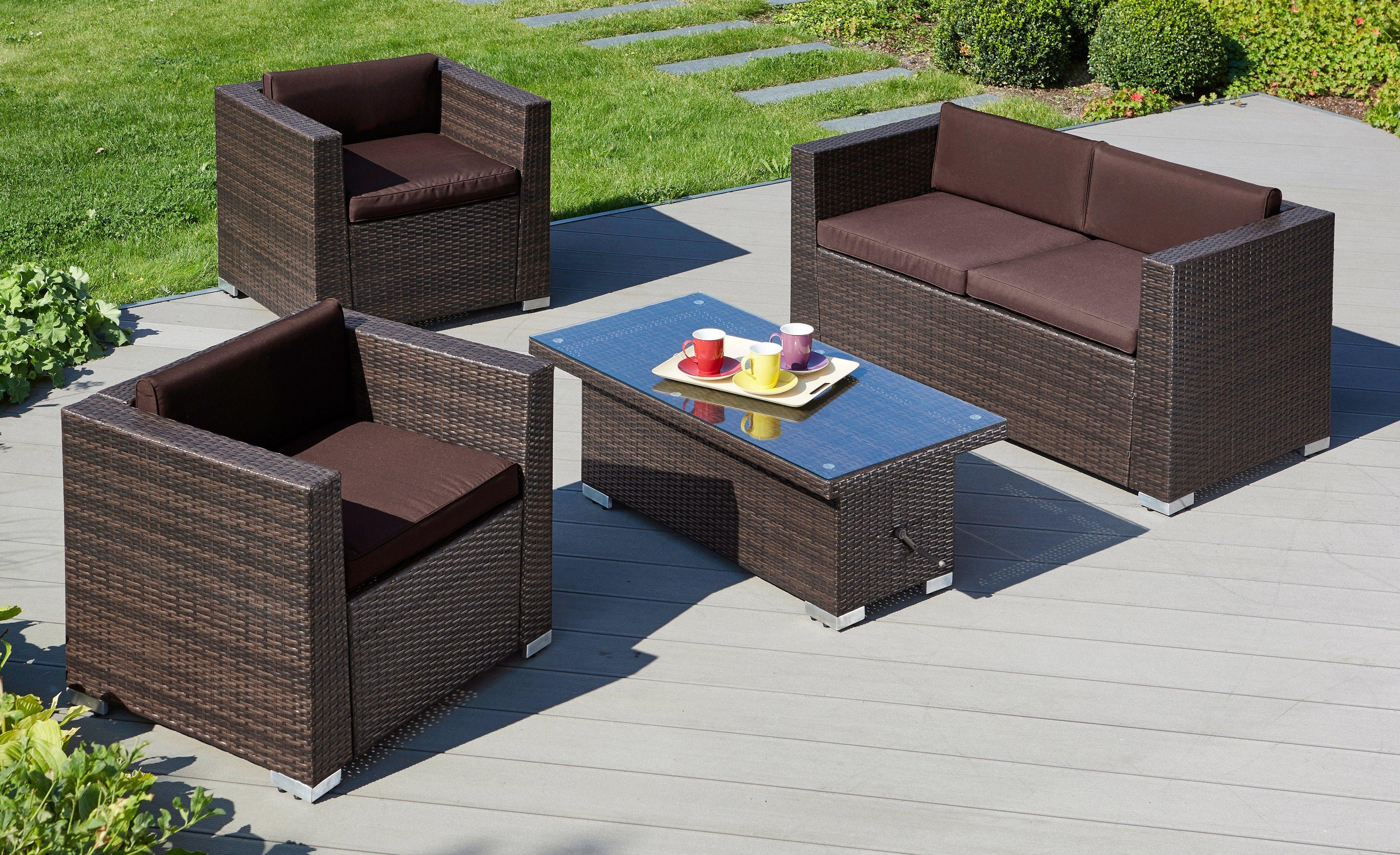 Loungeset »Bari Deluxe«, 12-tgl., 2 Sessel, 2er-Sofa, Tisch 120x60 cm, Polyrattan