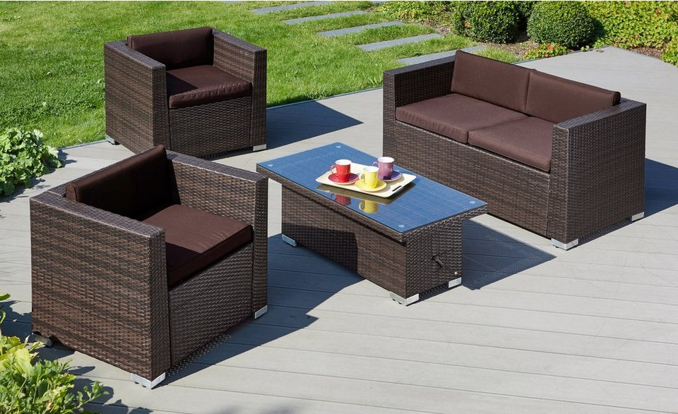 loungeset bari deluxe 12 tgl 2 sessel 2er sofa tisch 110x55 cm polyrattan braun online. Black Bedroom Furniture Sets. Home Design Ideas