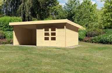 KONIFERA Set: Gartenhaus »Rosenheim 3«, BxT: 664x360 cm, inkl. Anbau mit Seiten- und Rückwand