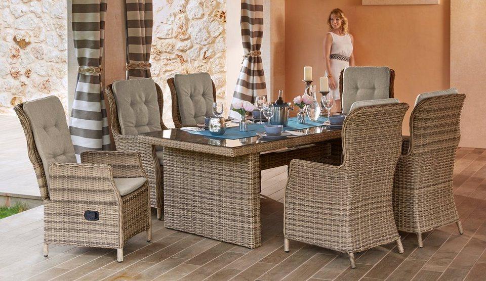 Gartenmöbelset »Riviera«, 13-tlg., 6 Hochlehner, Tisch ...