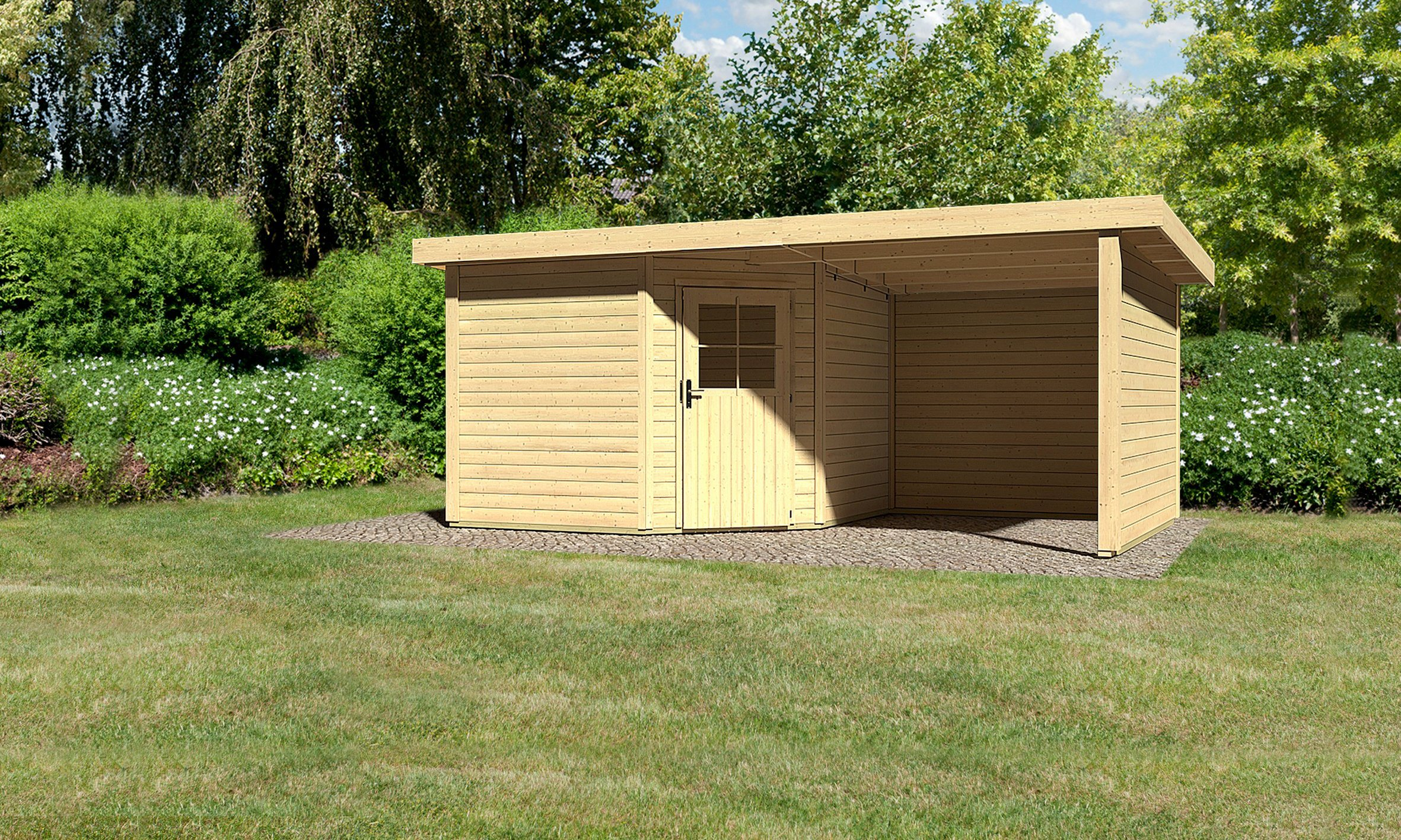 KARIBU Gartenhaus »Neuruppin 3«, Gesamtmaß (BxT): 509x303 cm, Inkl. Anbau | Garten > Gartenhäuser | Karibu