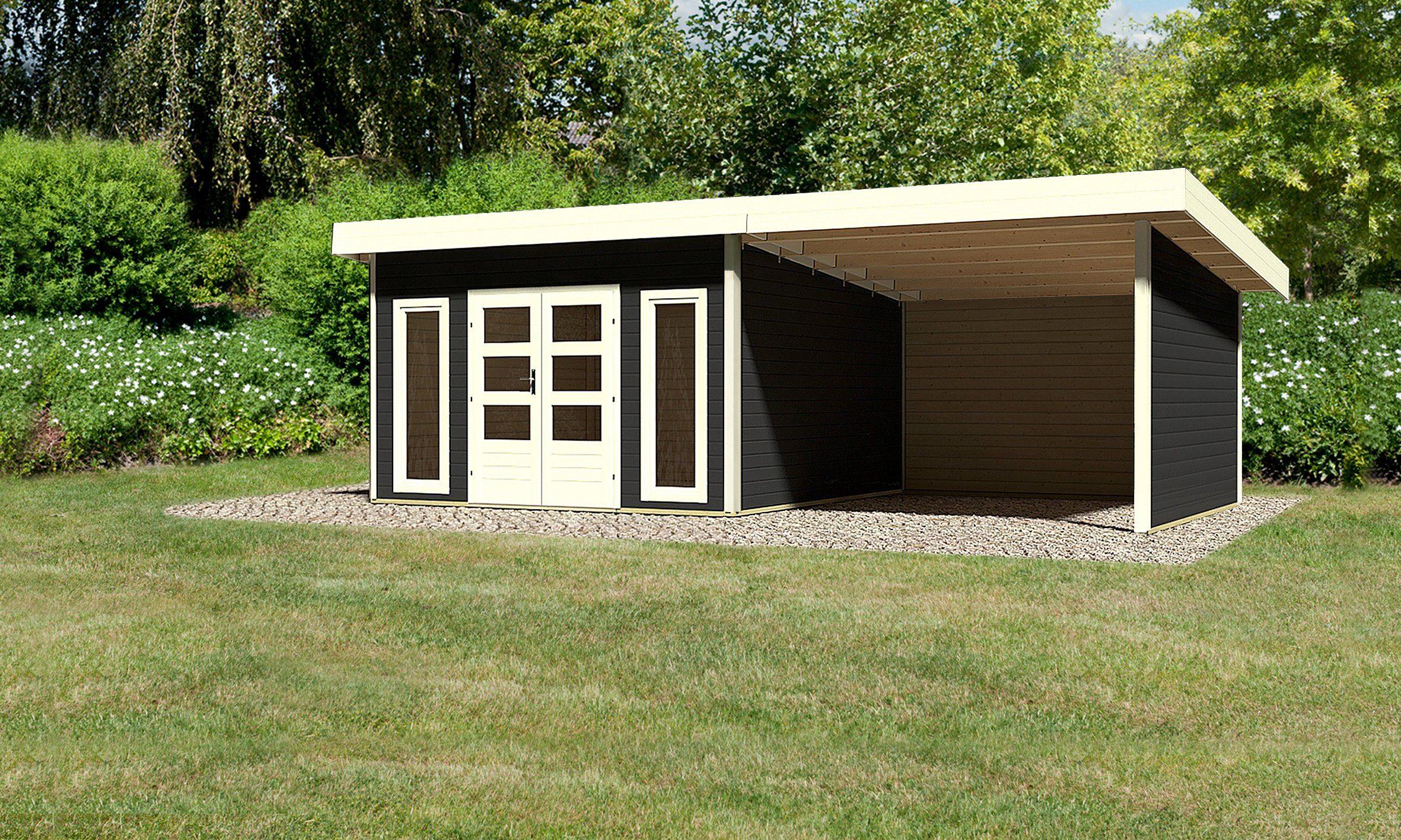 KONIFERA Set: Gartenhaus »Rosenheim 5«, BxT: 724x420 cm, inkl. Anbau mit Seiten- und Rückwand