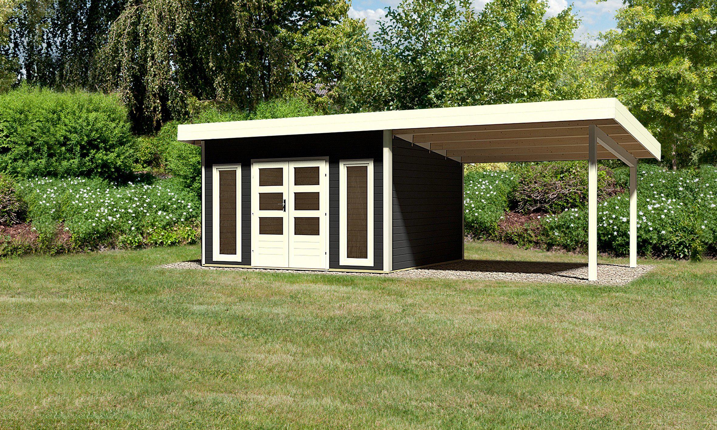 KONIFERA Gartenhaus »Rosenheim 4«, Gesamtmaß (BxH): 609x357 cm, Inkl. Anbau