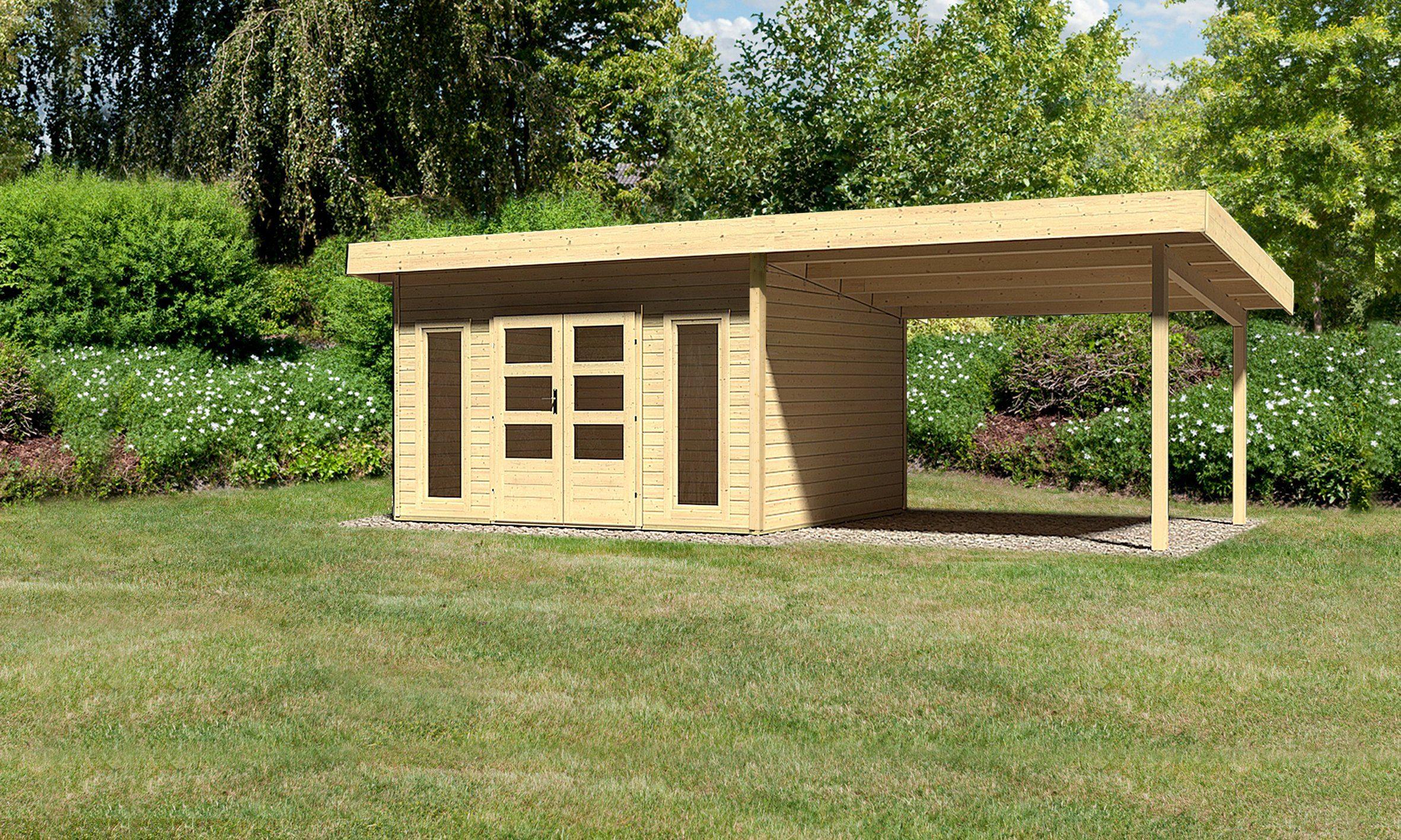 KONIFERA Set: Gartenhaus »Rosenheim 4«, BxT: 724x360 cm, inkl. Anbau