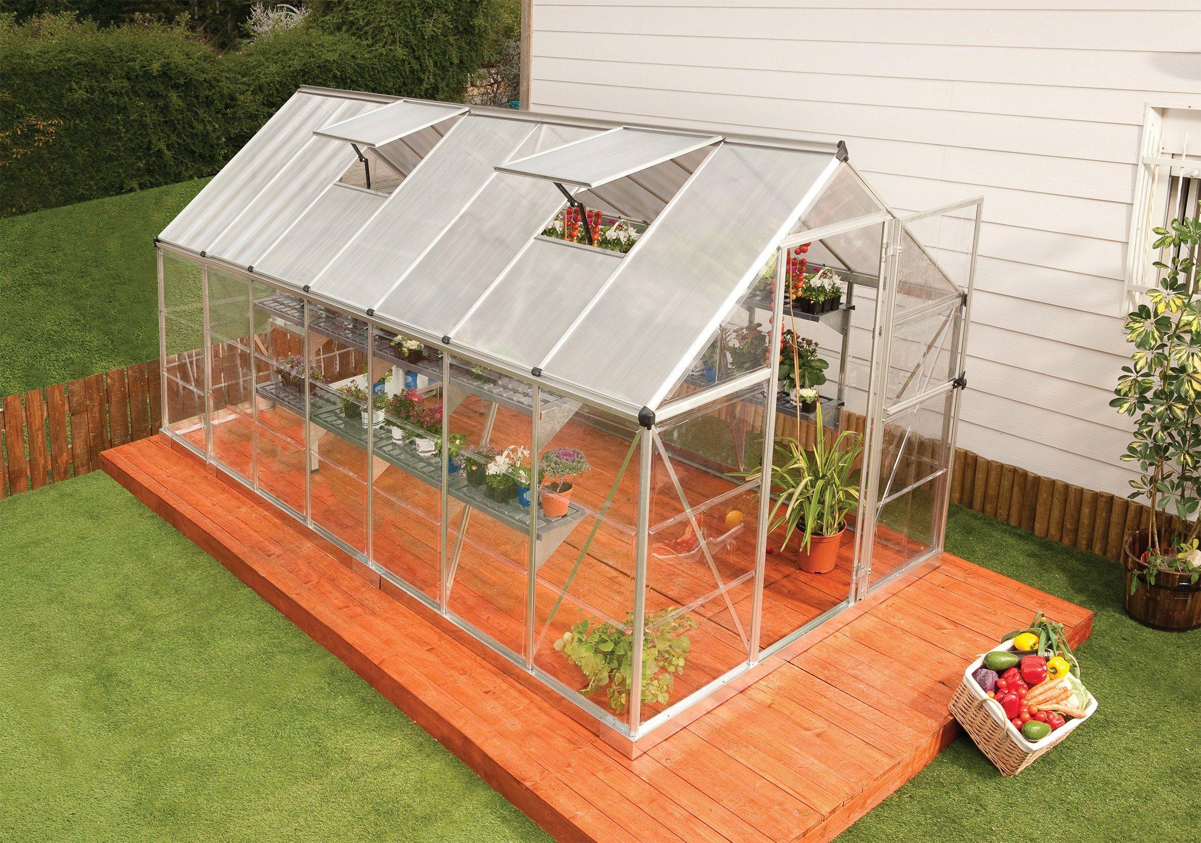 PALRAM Gewächshaus »Hybrid«, Größe 5, B/T/H: 185/426/208 cm, silberfarben | Garten > Gewächshäuser | Polycarbonat | Palram