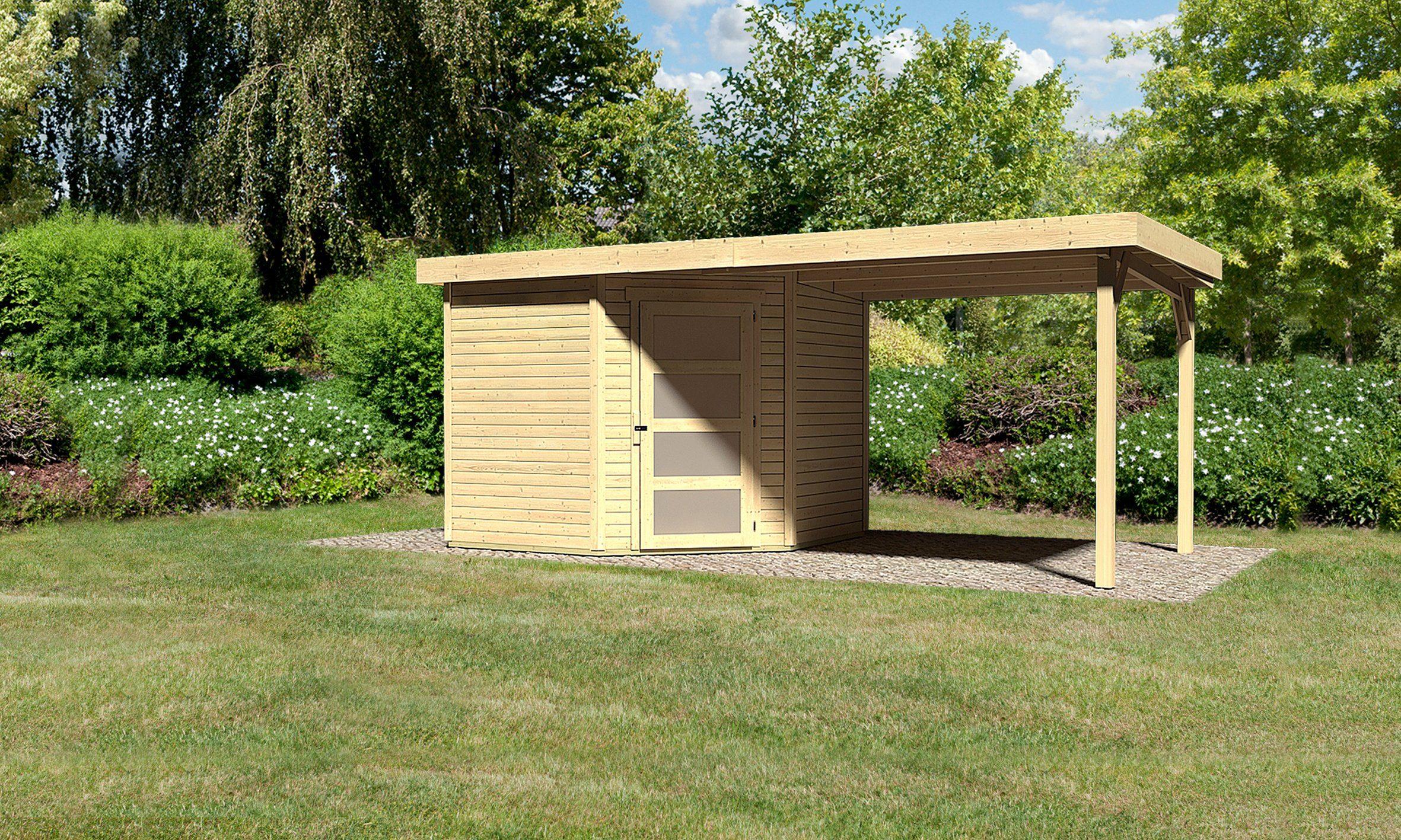 KARIBU Set: Gartenhaus »Schwandorf 5«, Gesamtmaß (BxT): 530x262 cm, mit Anbau
