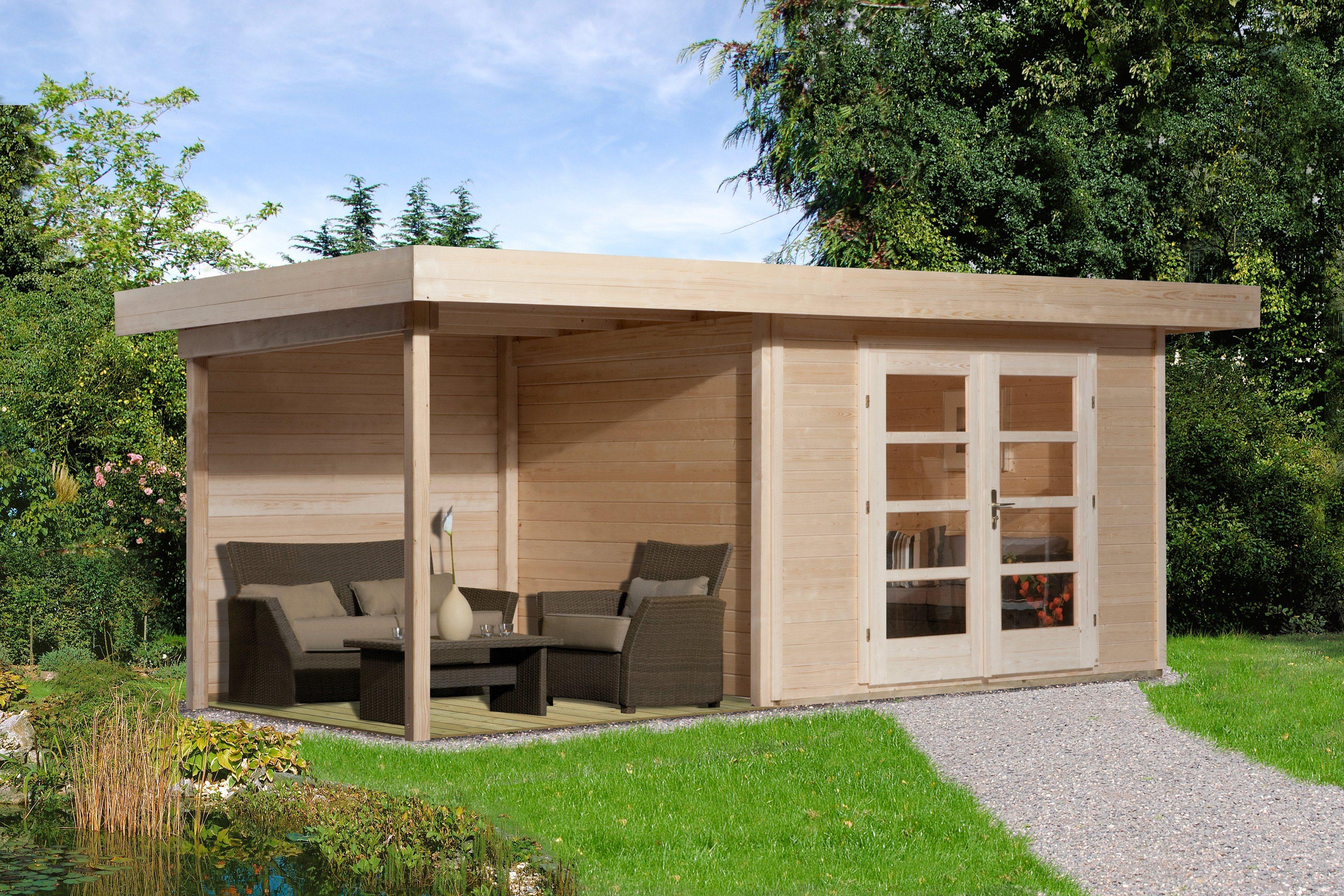 WEKA Set: Gartenhaus »Chill-Out Gr.3«, BxT: 585x375 cm, inkl. Anbaudach und Fußboden | Garten > Gartenhäuser | weka