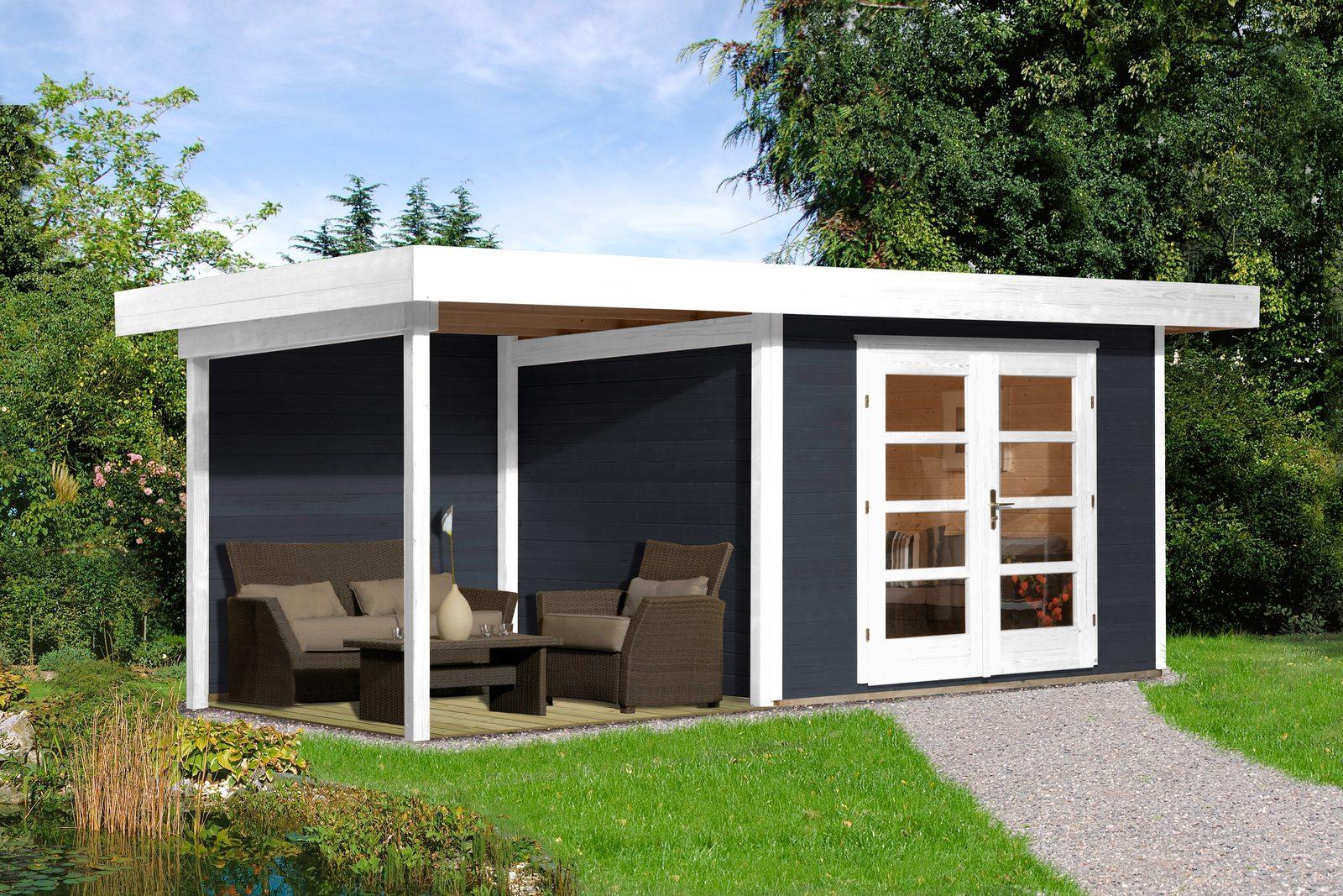 WEKA Gartenhaus »Chill-Out Gr. 1«, BxT: 530x210 cm, mit Anbau (235 cm breite) anthrazit/weiß - broschei