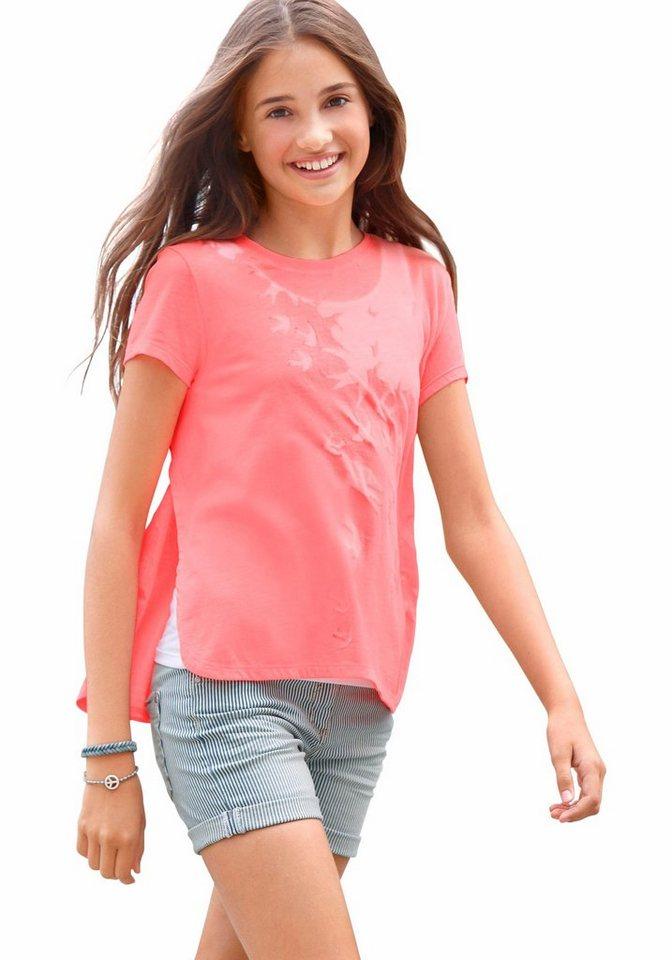 s.Oliver RED LABEL Junior T-Shirt (Set, 2 tlg., mit Top) in neonorange+weiß