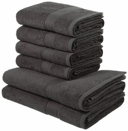 my home Handtuch Set »Juna«, mit feiner Strukturbordüre, 6-teiliges Set