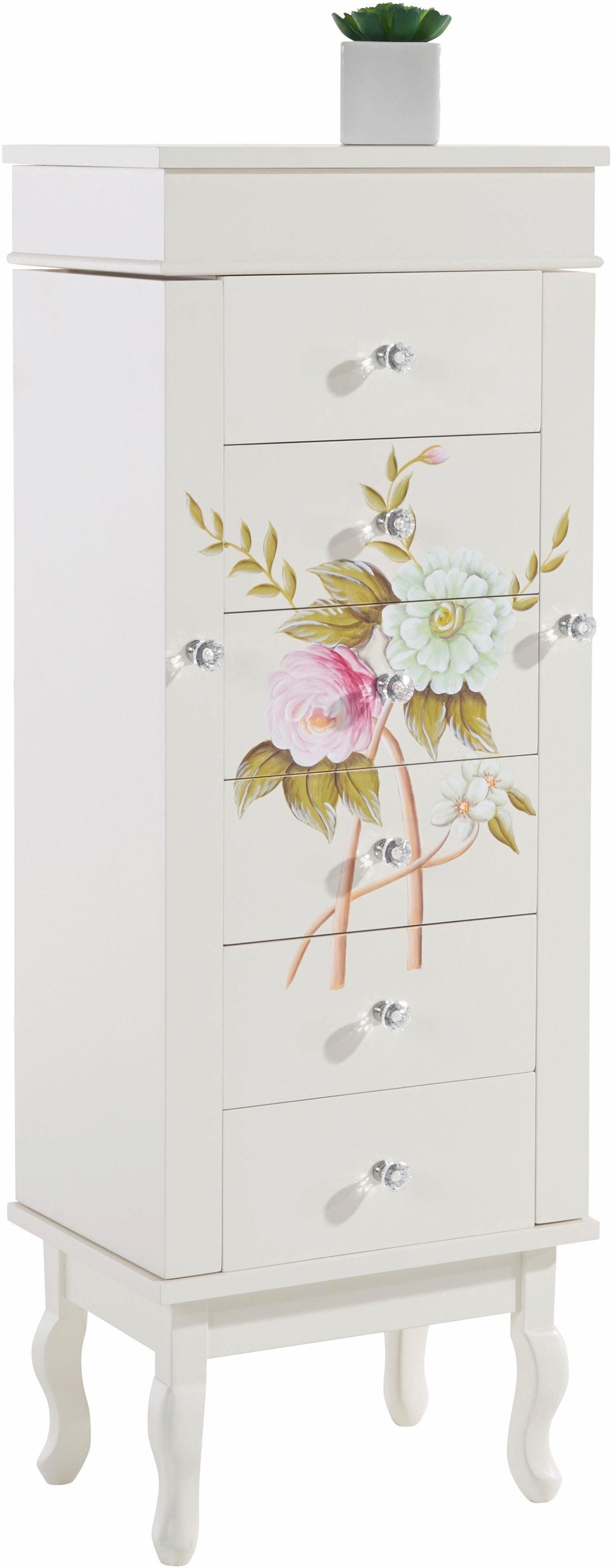 Home affaire Schmuckschrank »Flowerful« mit Blumen-Handbemalung