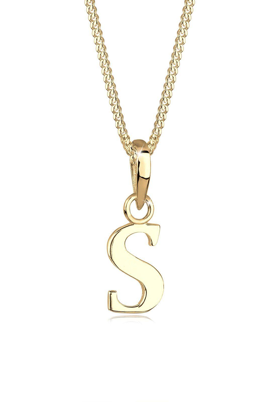 GOLDHIMMEL Halskette »Buchstabe S 925 Silber vergoldet«