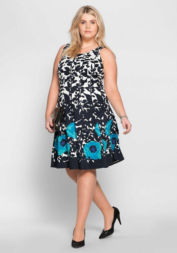 sheego Style Kleid mit Alloverdruck in dunkelblau-türkis