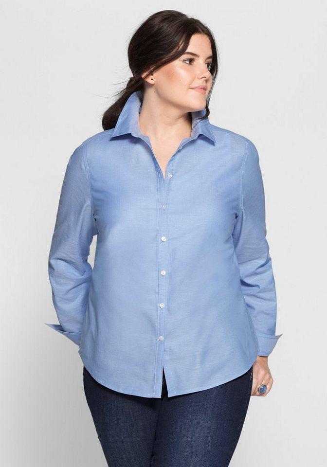 sheego Casual Bluse aus Baumwolle in pastellblau
