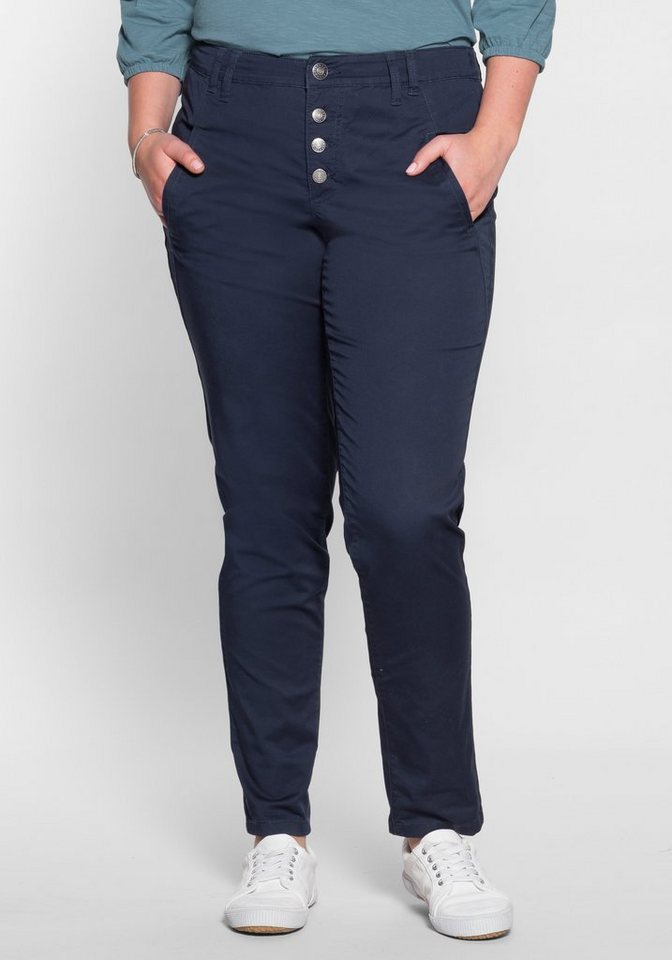 sheego Casual Stretch-Hose in Chinoform in marine