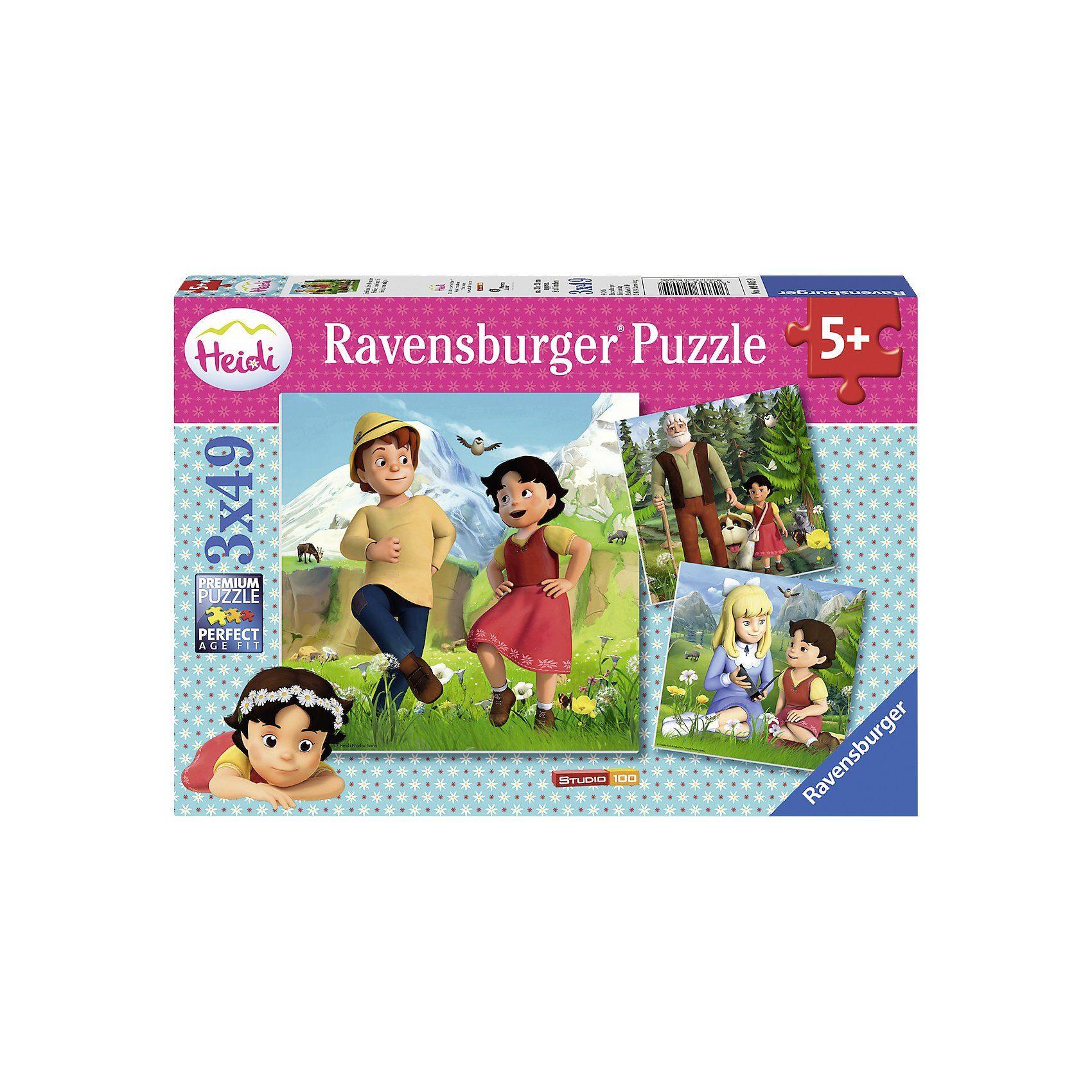 Ravensburger Puzzle 3 x 49 Teile Heidi und ihre Freunde