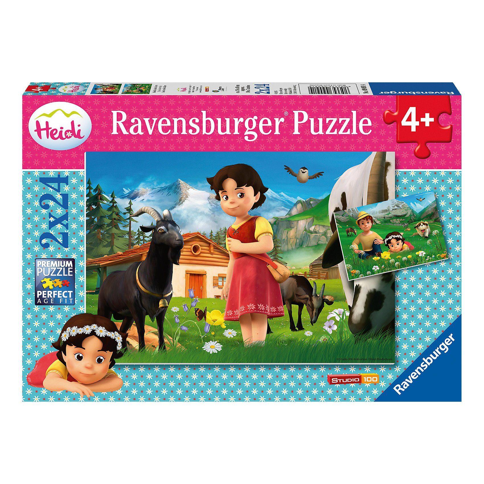 Ravensburger Puzzle 2 x 24 Teile Heidi in den Alpen