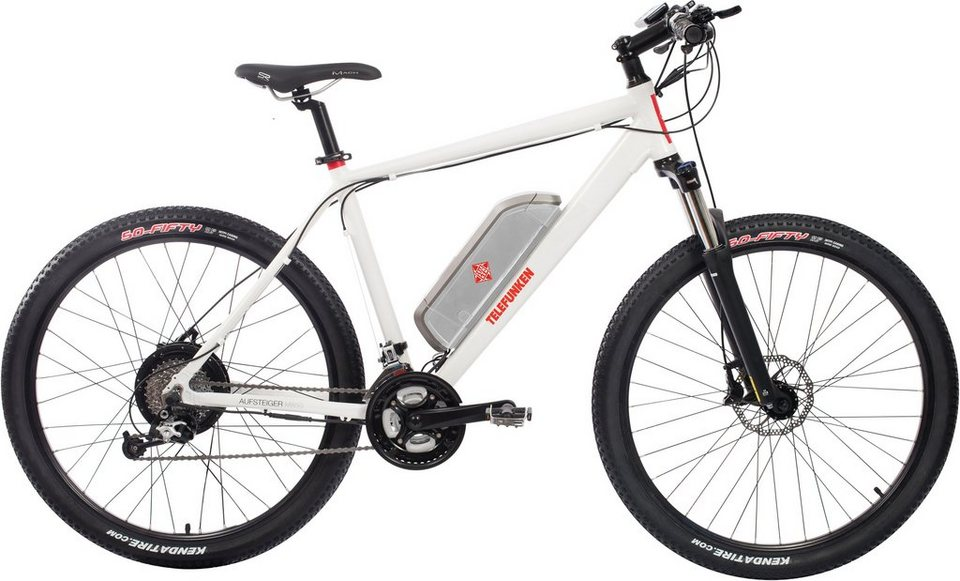 Telefunken Herren Alu Hardt. MTB-E-Bike, 27,5 Z., 27-Gg. Deore XT Kettensch., »Aufsteiger M850« in weiß