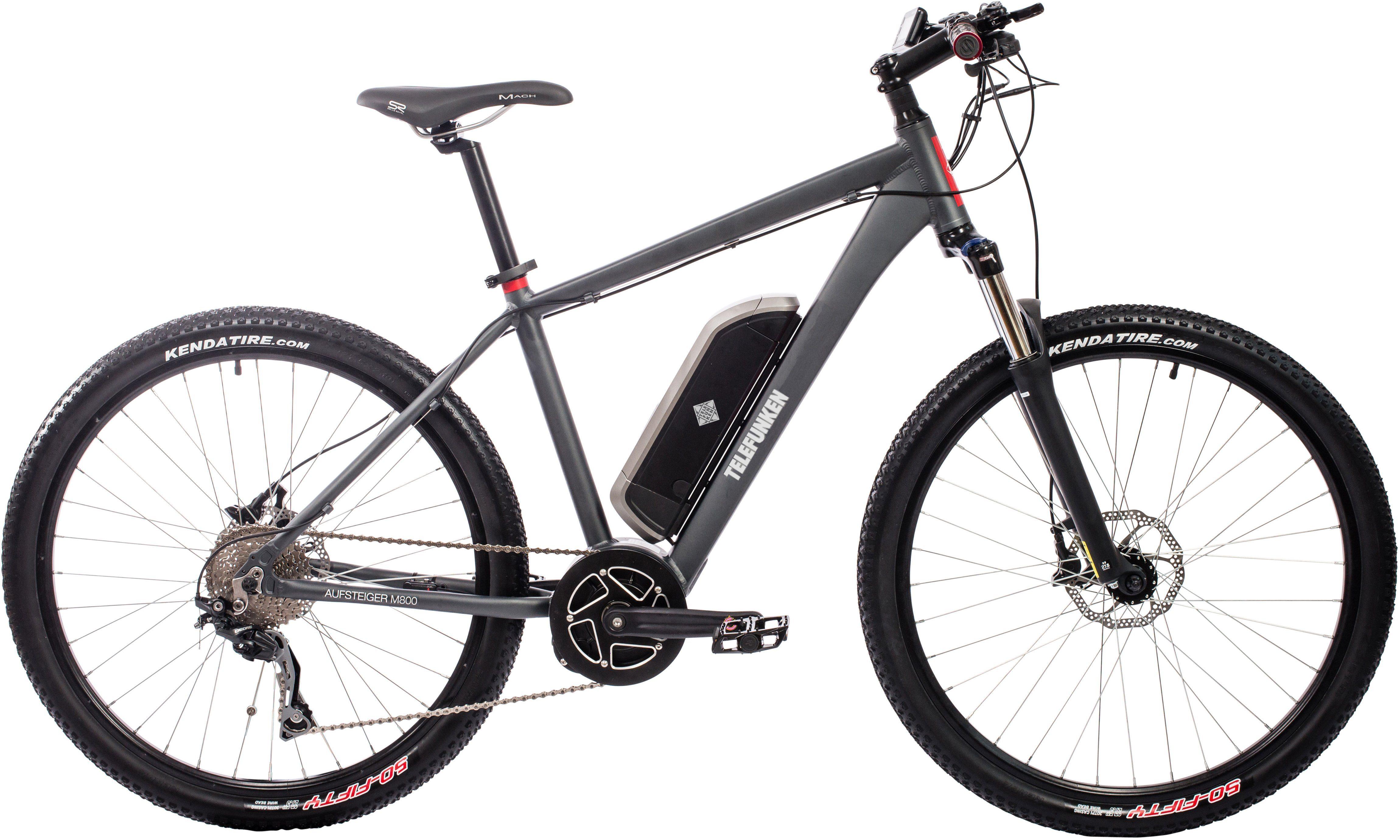 Telefunken Herren Alu Hardtail MTB-E-Bike, 27,5 Z., 10-Gg. Shim. Deore Kettensch., Mittelmotor, »Aufsteiger M800«